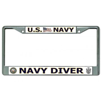 "U.S. Navy ""Navy Diver"" Chrome License Plate Frame"