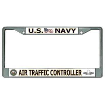 U.S. Navy Air Traffic Controller Chrome License Plate Frame