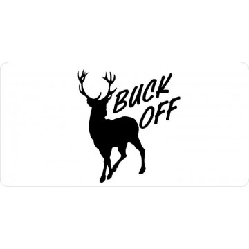 Buck Off On White Photo License Plate