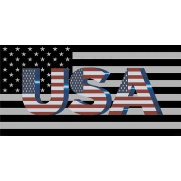 USA Flag Black And White Photo License Plate