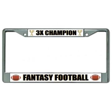 Fantasy Football 3X Champion Chrome License Plate Frame