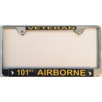 101st Airborne Veteran Thin Top Chrome License Plate Frame