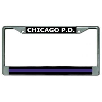 Chicago P.D. Thin Blue Line Chrome License Plate Frame
