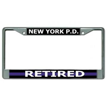 New York P.D. Thin Blue Line Retired Chrome License Plate Frame