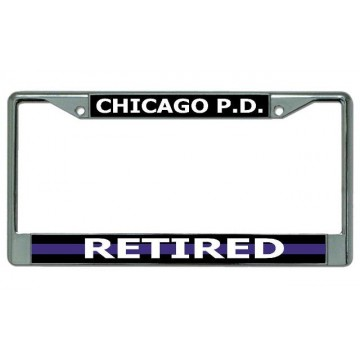 Chicago P.D. Thin Blue Line Retired Chrome License Plate Frame