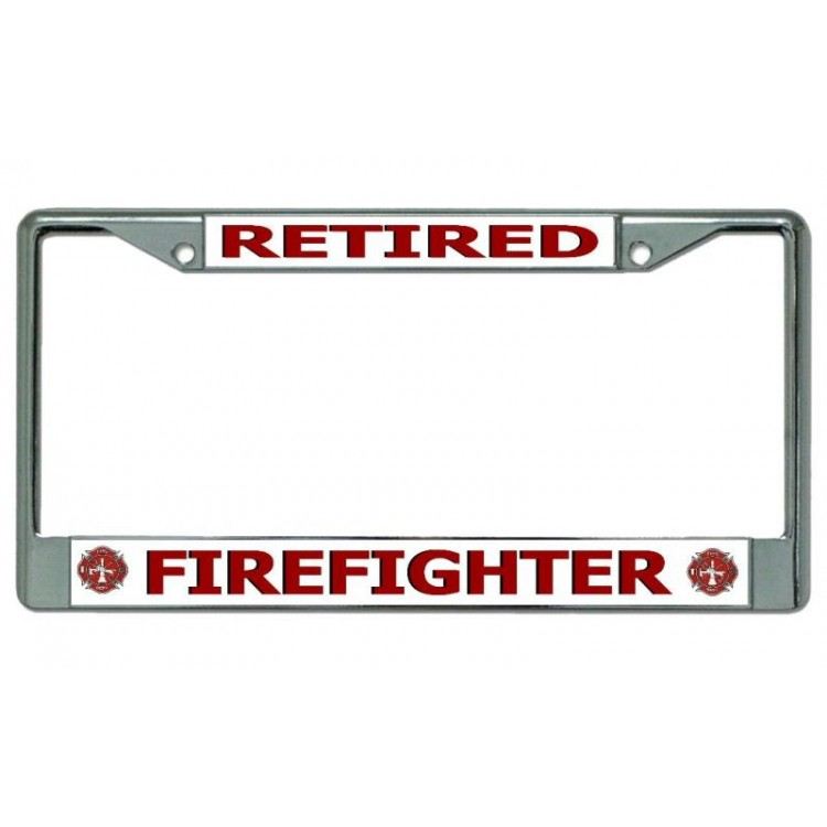 Firefighter Retired Chrome License Plate Frame