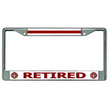 Firefighter Retired #2 Chrome License Plate Frame