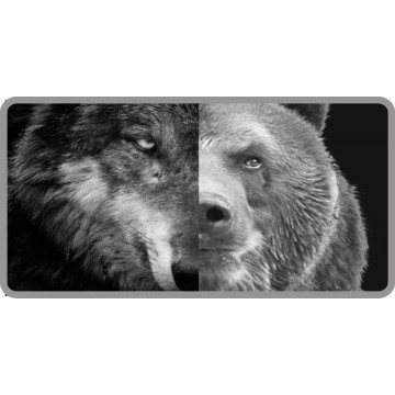 Half Wolf Half Bear Photo License Plate