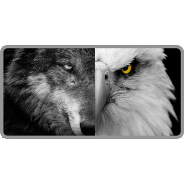 Half Wolf Half Eagle Photo License Plate