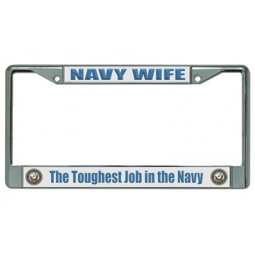 Navy Wife Chrome License Plate Frame