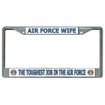 Air Force Wife Chrome License Plate Frame
