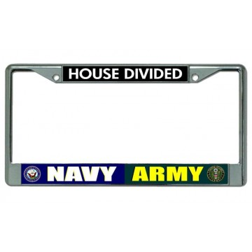 Navy Army House Divided Chrome License Plate Frame