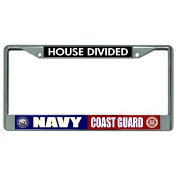 Navy Coast Guard House Divided Chrome License Plate Frame