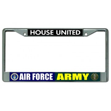 Air Force Army House United Chrome License Plate Frame