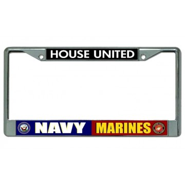 Navy Marines House United Chrome License Plate Frame