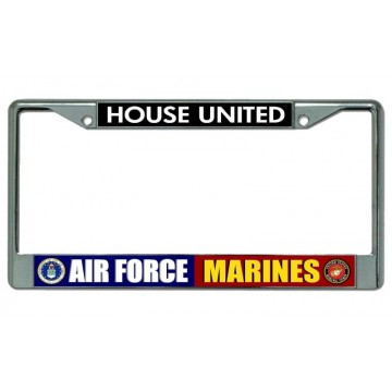 Air Force Marines House United Chrome License Plate Frame