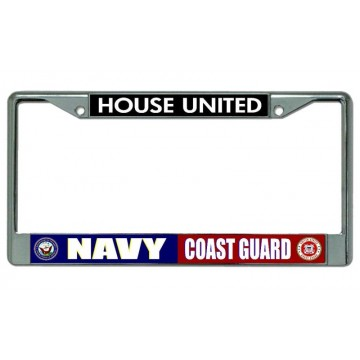 Navy Coast Guard House United Chrome License Plate Frame