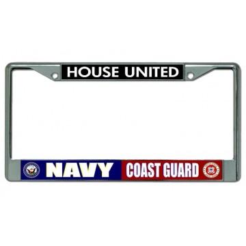 Navy Coast Guard House United Chrome License Plate Frame