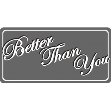 Better Than You Photo License Plate