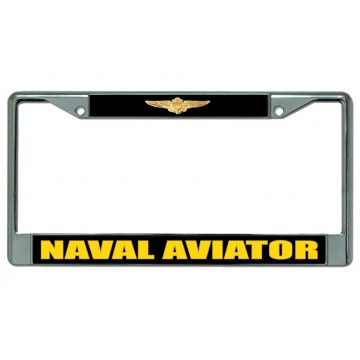 Naval Aviator Chrome License Plate Frame