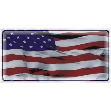 Wavy American Flag Photo License Plate
