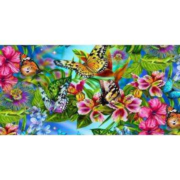 Butterflies And Flowers Photo License Plate