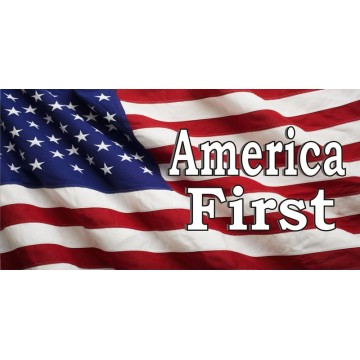 America First On American Flag Photo License Plate