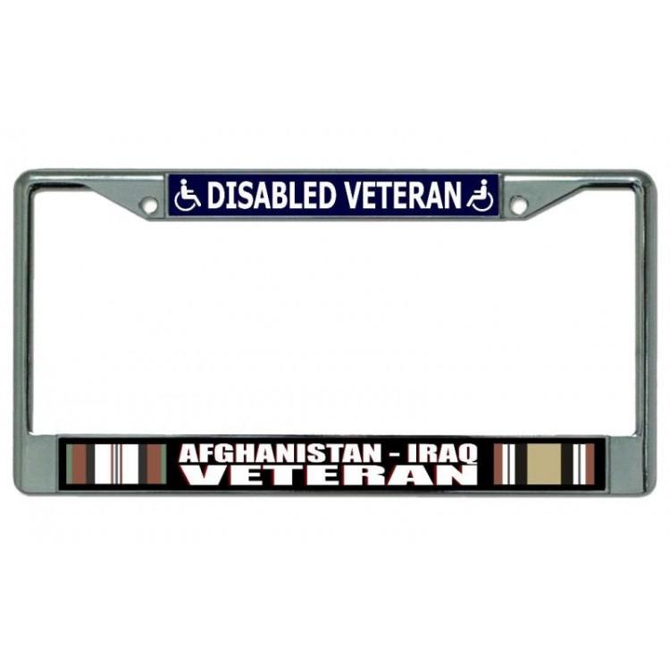Afghanistan Iraq Disabled Veteran Chrome License Plate Frame