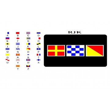 Nautical Signal Flags On Black Photo License Plate