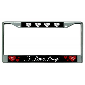 I Love Lucy Chrome License Plate Frame