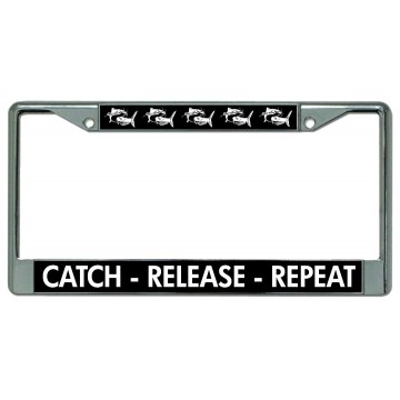 Catch Release Repeat Chrome License Plate Frame