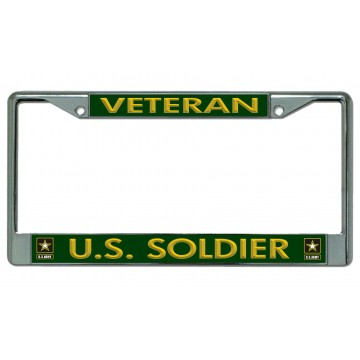 Army U.S. Soldier Veteran Chrome License Plate Frame