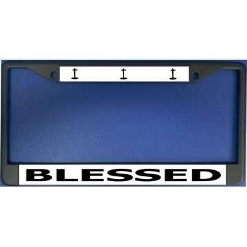 Blessed With Crosses Black License Plate Frame