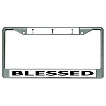 Blessed With Crosses Chrome License Plate Frame
