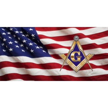 Free Mason On U.S. Flag Photo License Plate