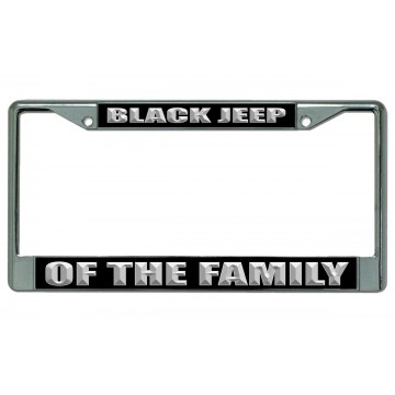 Black Jeep Of The Family Chrome License Plate Frame