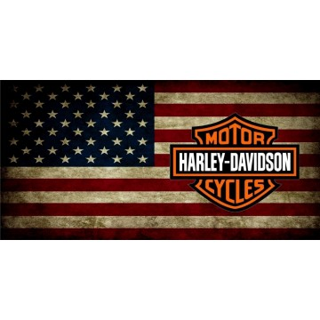 Harley Davidson Logo On American Flag Photo License Plate