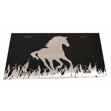 Black And Grey Horse Photo License Plate