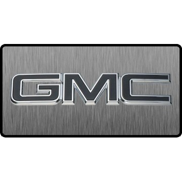 GMC Black Logo 3D Look Flat Photo License Plate