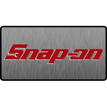 Snap-On Red Logo 3D Look Flat Photo License Plate