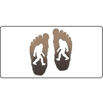 Bigfoot Shadow Footprints Photo License Plate