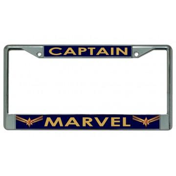 Captain Marvel On Blue Chrome License Plate Frame