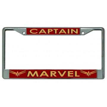 Captain Marvel On Red Chrome License Plate Frame