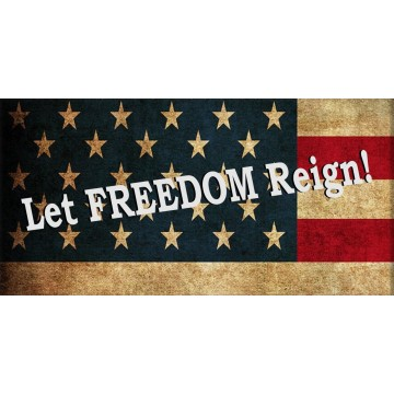 Let Freedom Reign On American Flag Photo License Plate