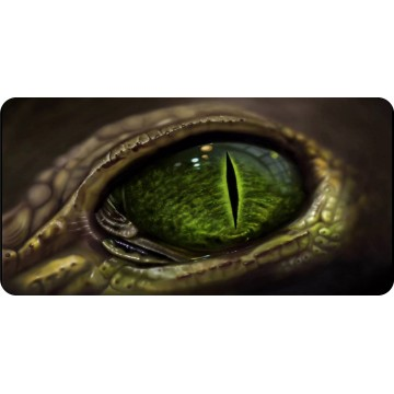 Green Snake Eye Photo License Plate