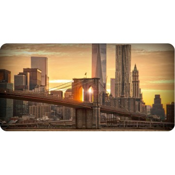 Brooklyn Bridge Sunset Photo License Plate