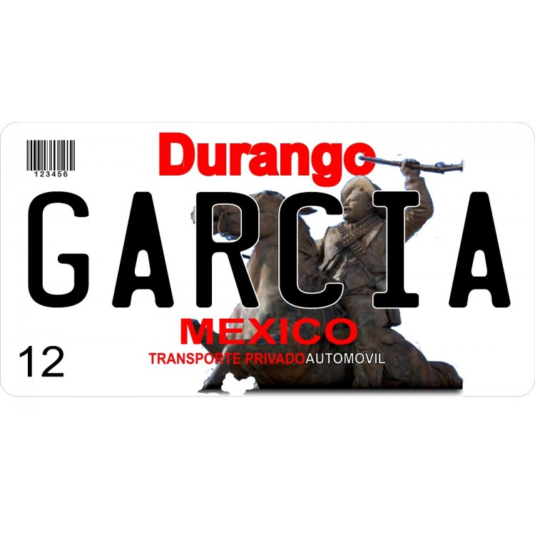 Mexico Durango Photo License Plate