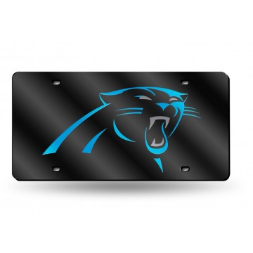 Carolina Panthers Black Laser License Plate