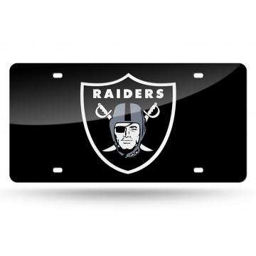 Oakland Raiders Black Laser License Plate