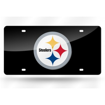 Pittsburgh Steelers Black Laser License Plate